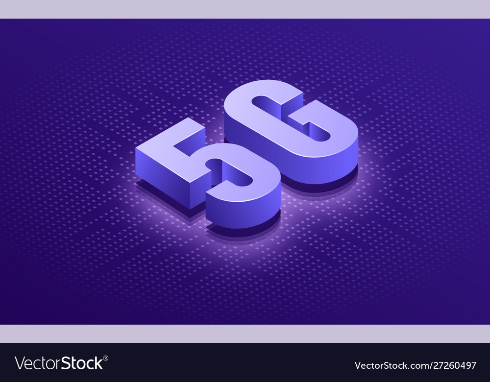 Wireless network technology 5g isometric