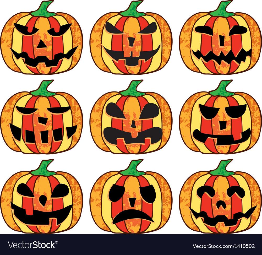 A set of halloween pumpkins