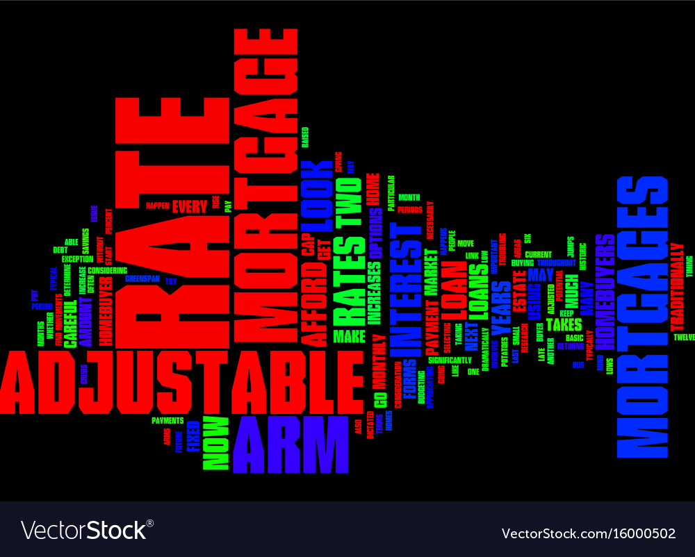 arm adjustable rate mortgages text background vector image