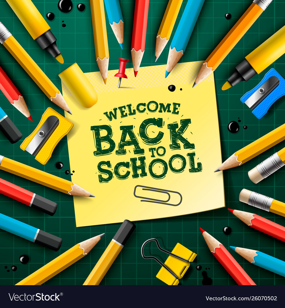 Back to school design with pencils and sticky