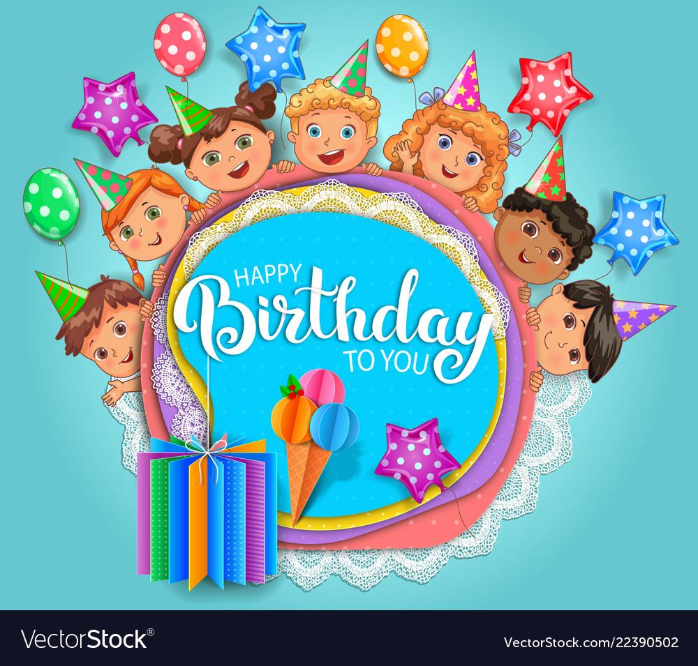Birthday fun card with cute kids