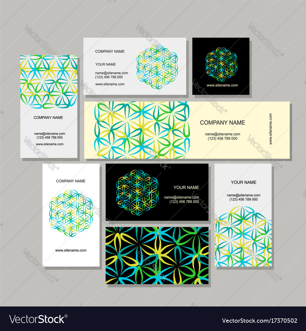 Business cards design flower of life Royalty Free Vector