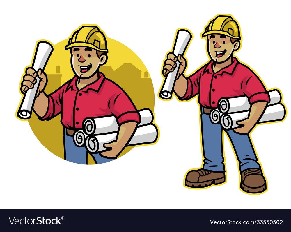 Cartoon architech worker mascot