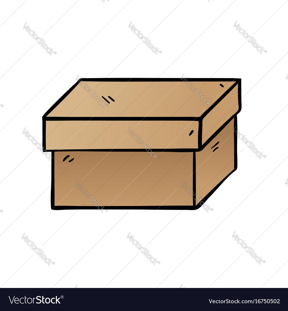 Cartoon box on white background vector image