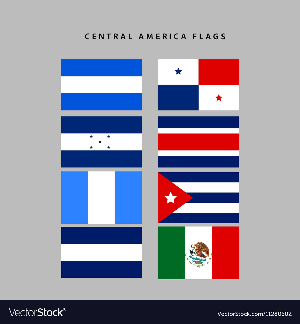 central america flags royalty free vector image