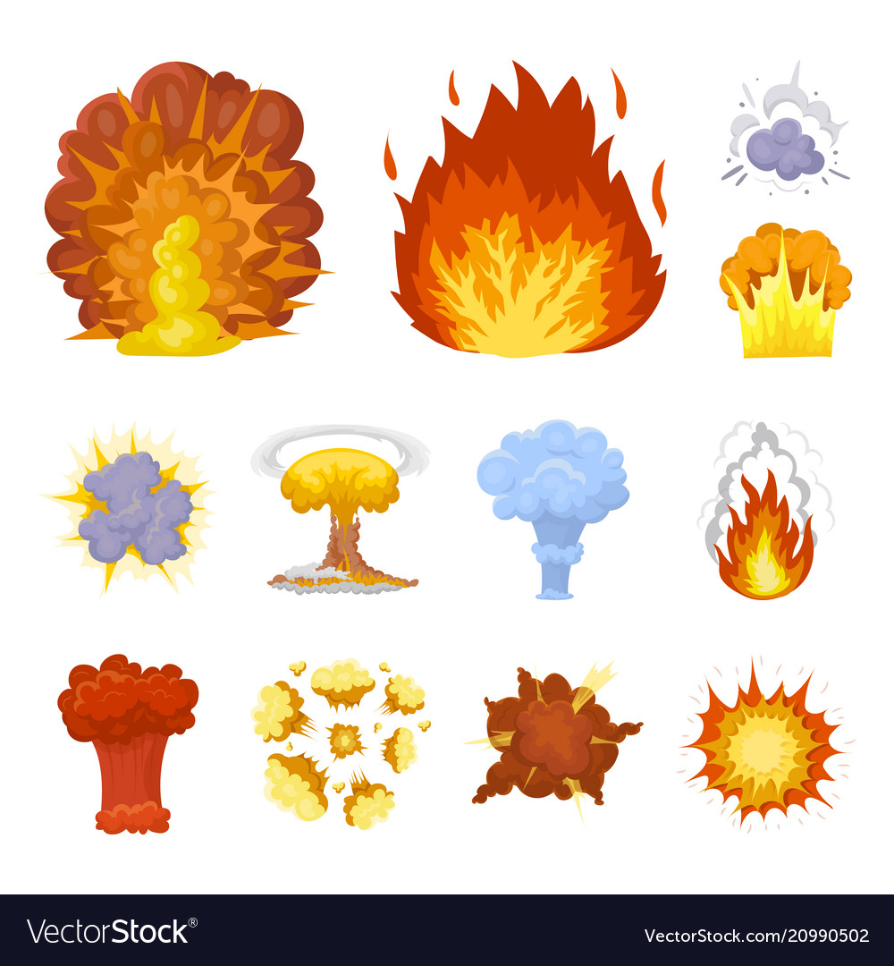 Different explosions cartoon icons in set