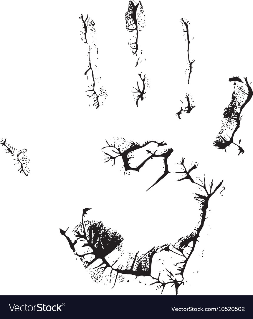 Fat human hand imprint on black vertical