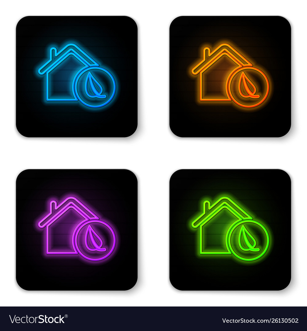 Glowing neon eco friendly house icon isolated on