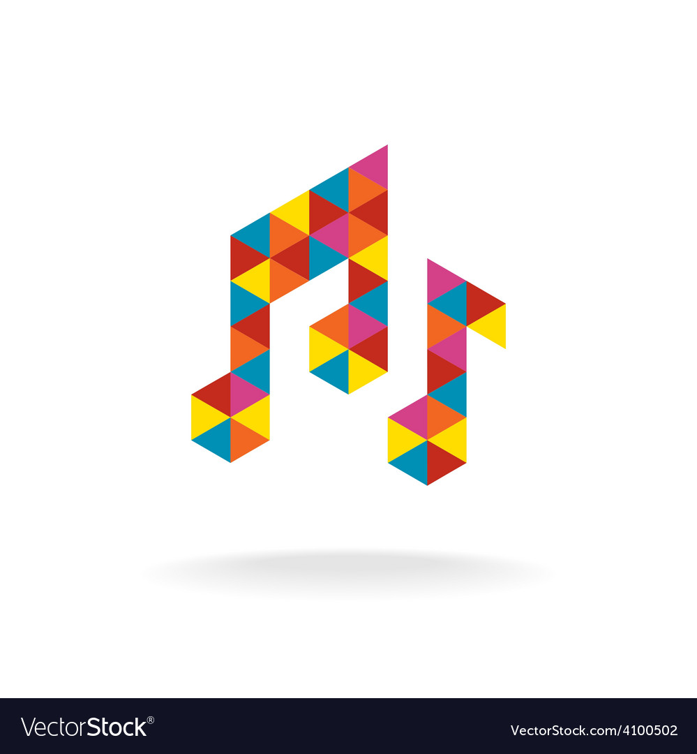 Music notes logo template Colorful triangles sign