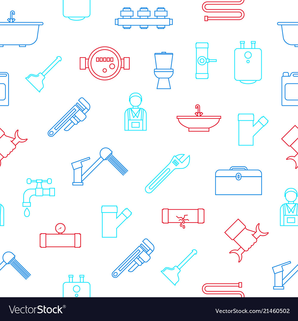 Plumbing equipments and tools seamless pattern