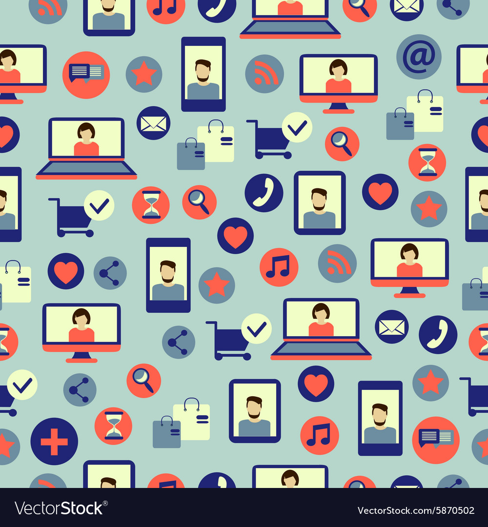 Seamless pattern with social media equipment