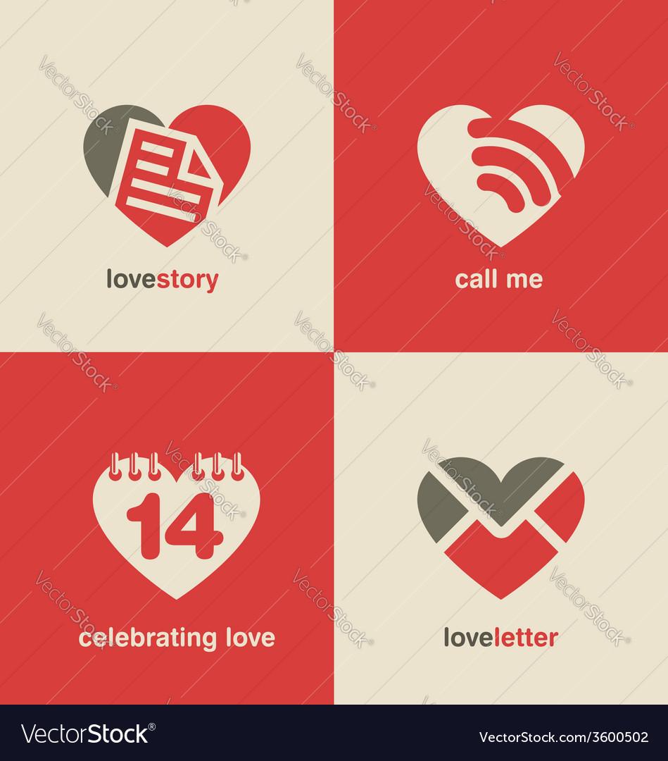 Set of heart shape icons and symbols