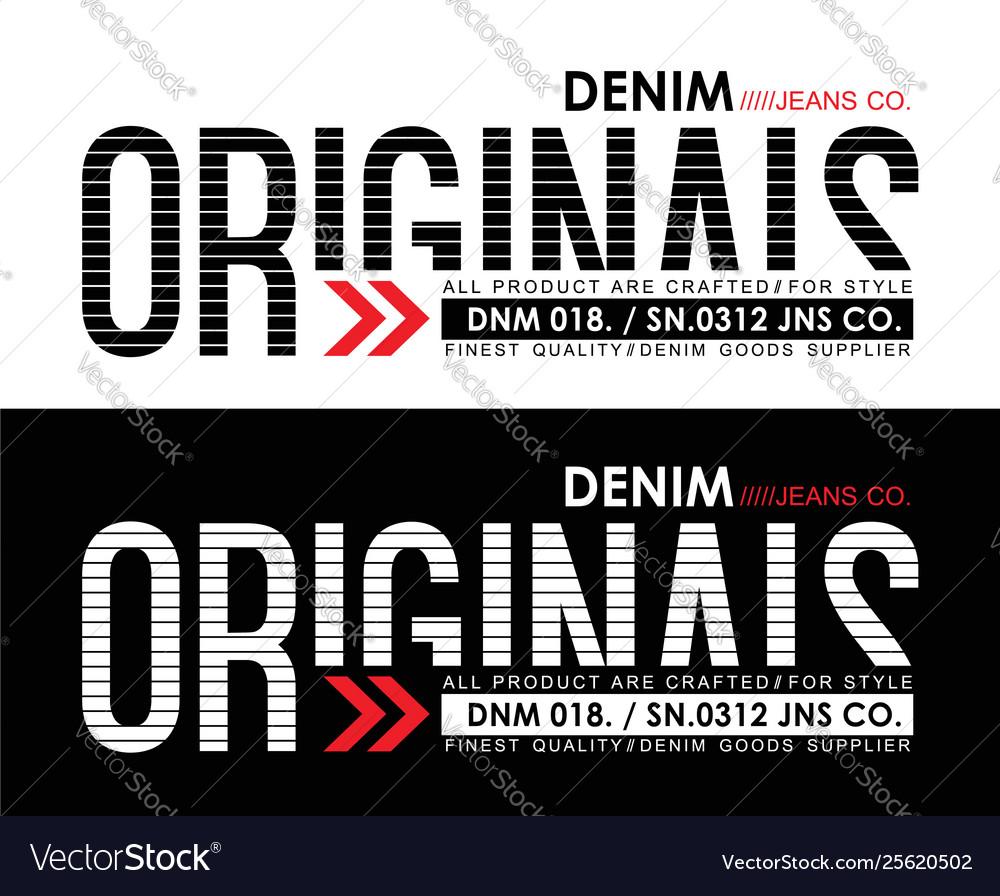 Typography design denim jeans