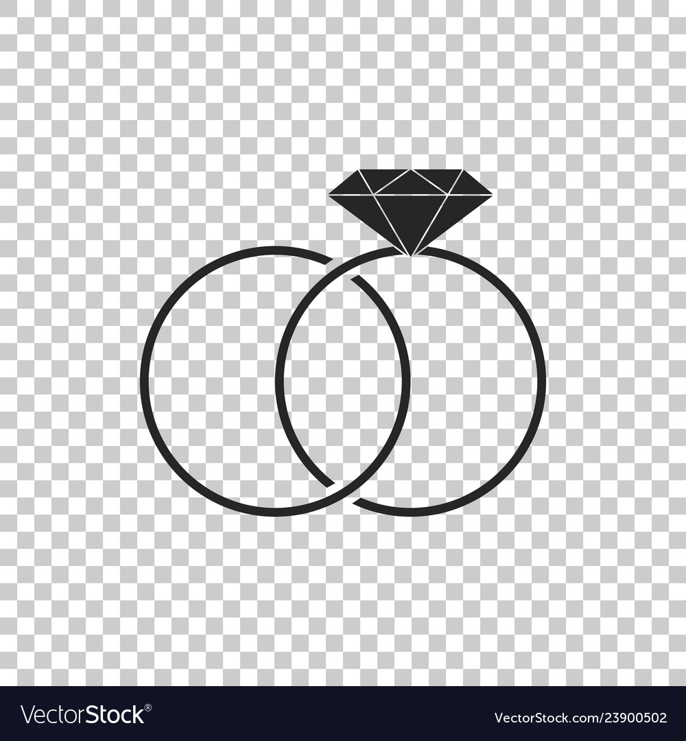 Wedding Rings Icon On Transparent Background