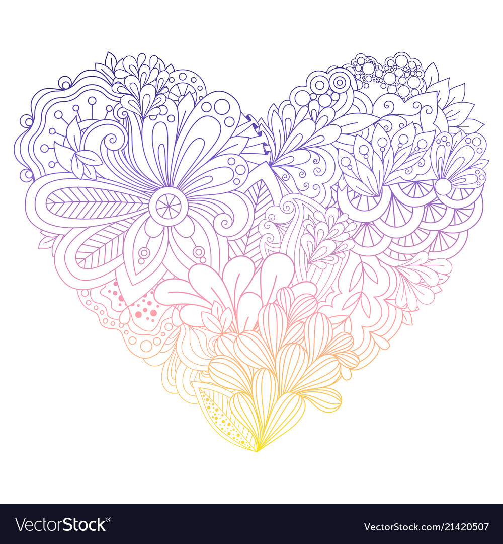 Colorful doodle flowers heart