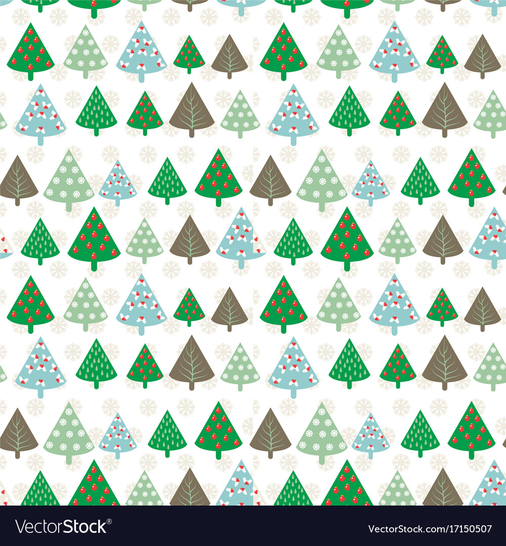 Cute seamless pattern with vintage christmas tree