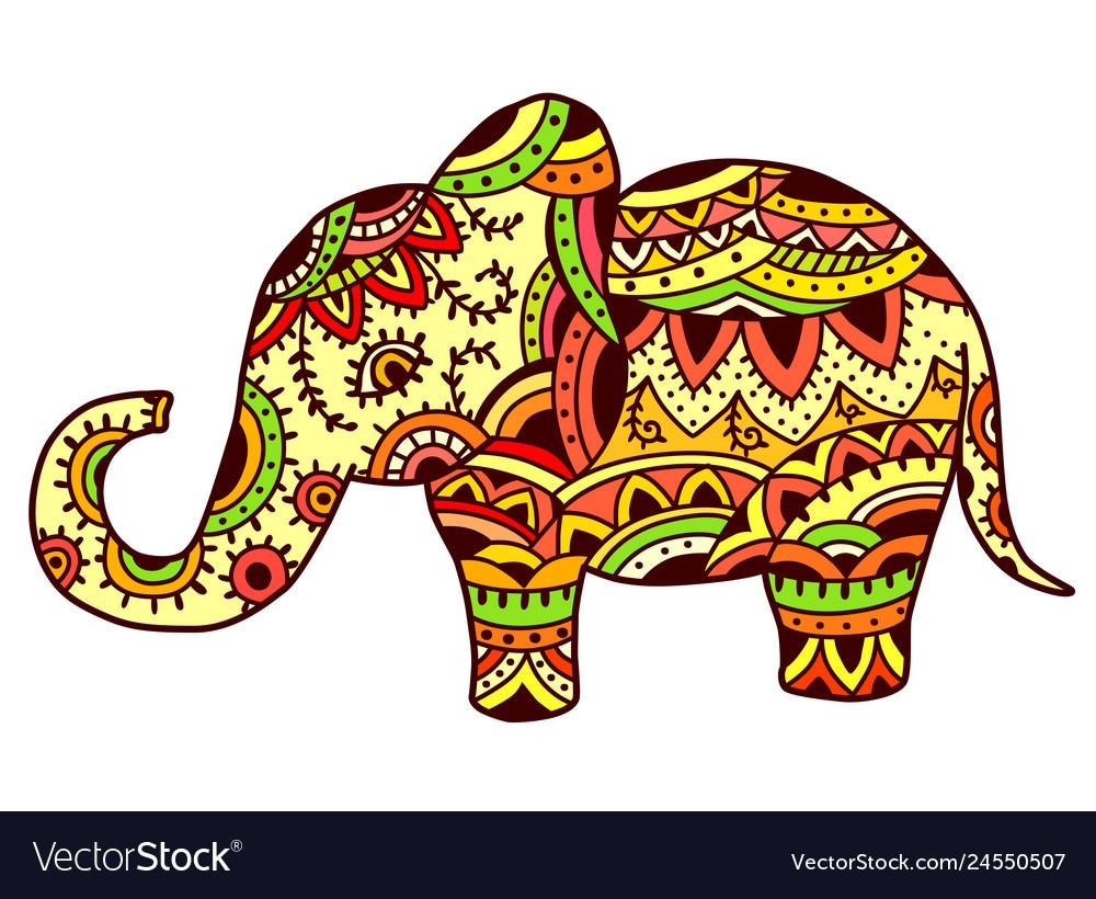Decorative elephant in ethnic pattern