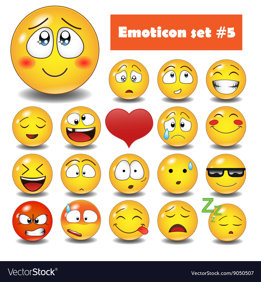 Emotional face icons vector image