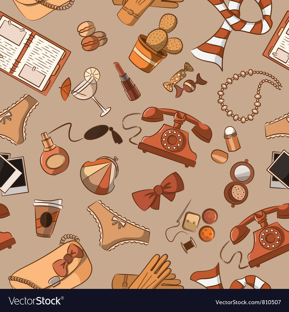 Female things pattern vintage style vector image