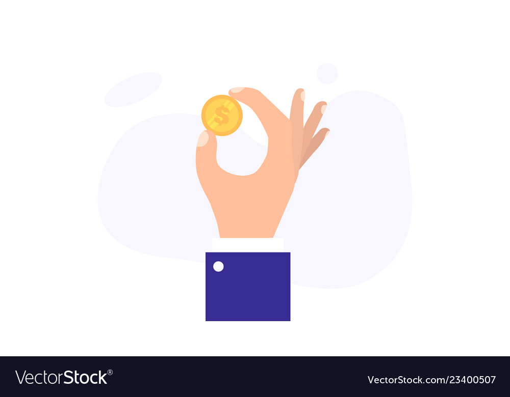 Hand holding golden dollar coin vector