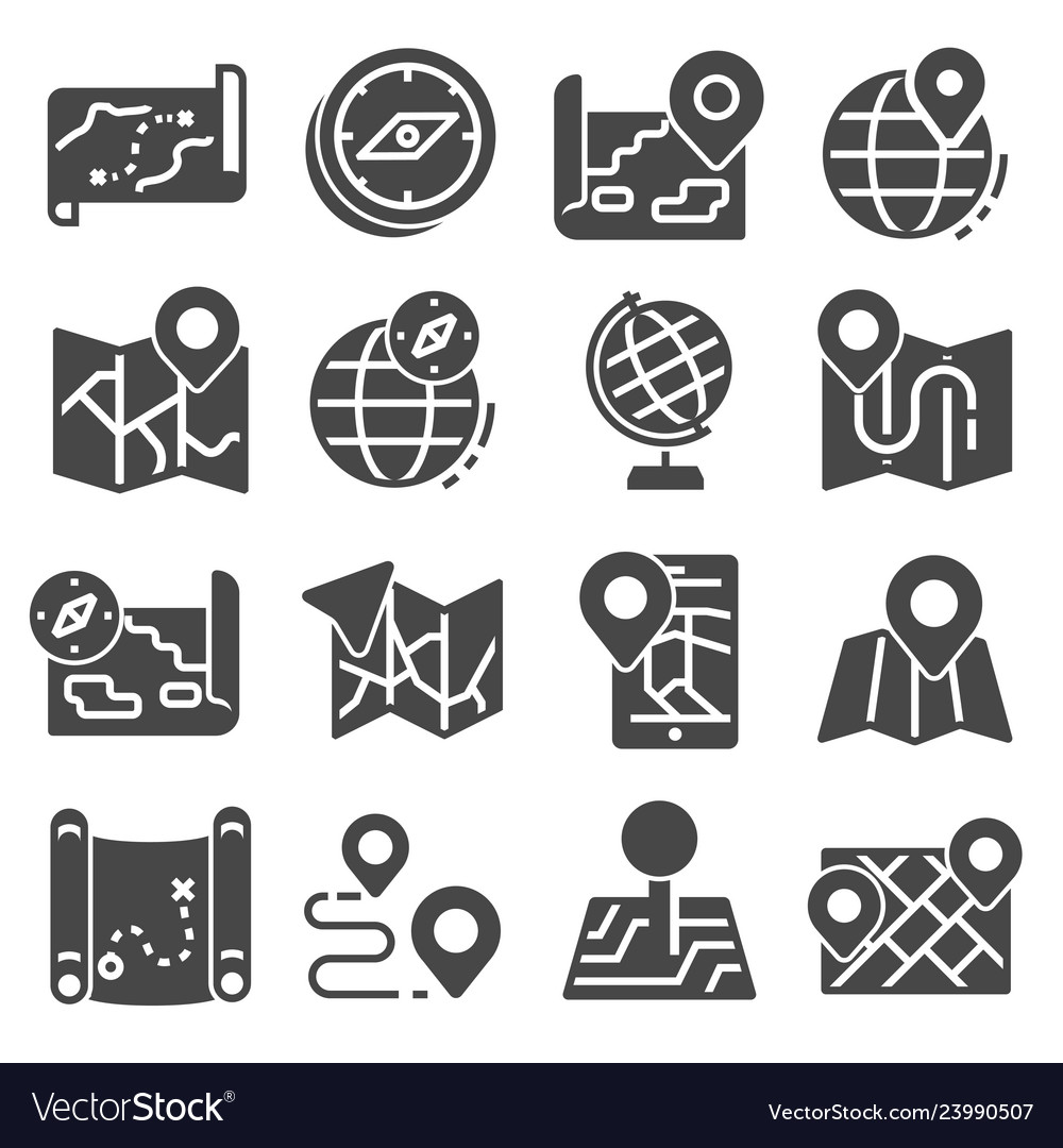 Map icons and location icons set