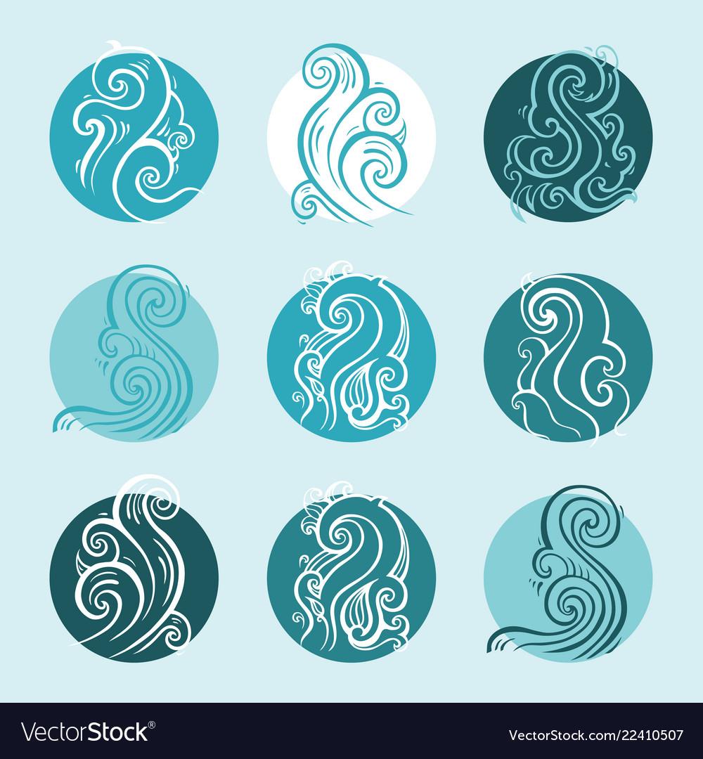 Ocean waves set elegant hand drawn pattern