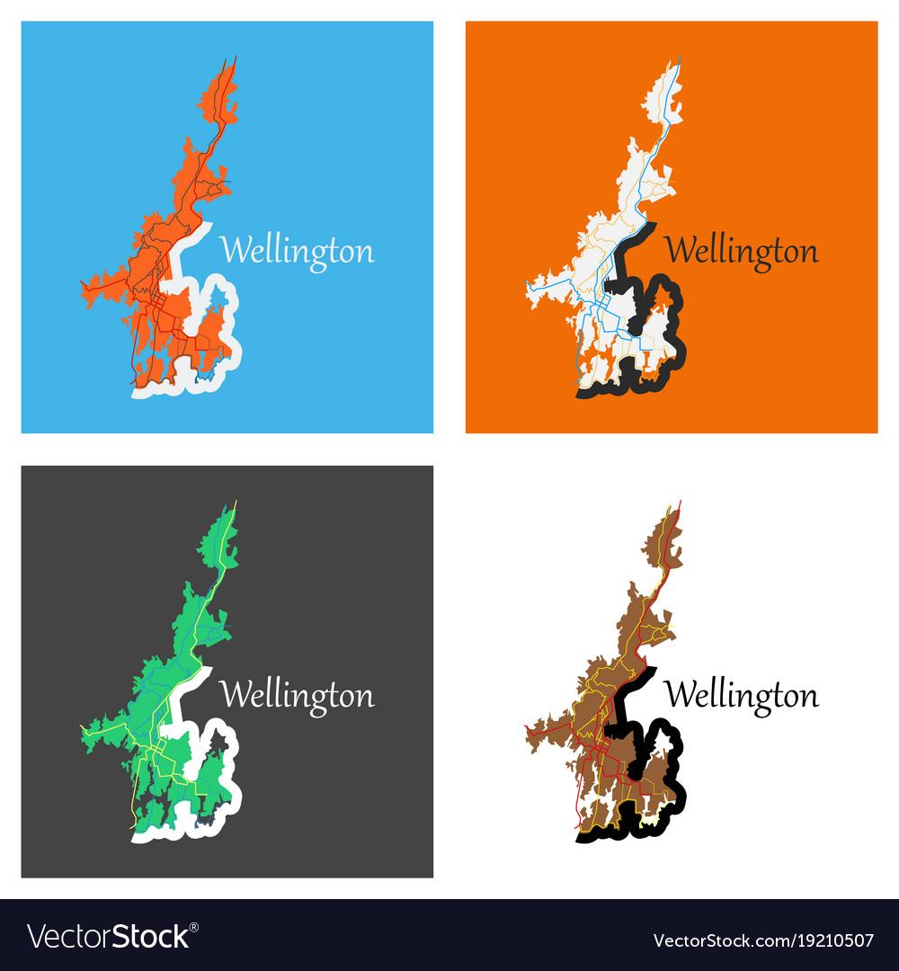 Map Wellington New Zealand.Set Of Detailed Flat Map Of Wellington New Zealand