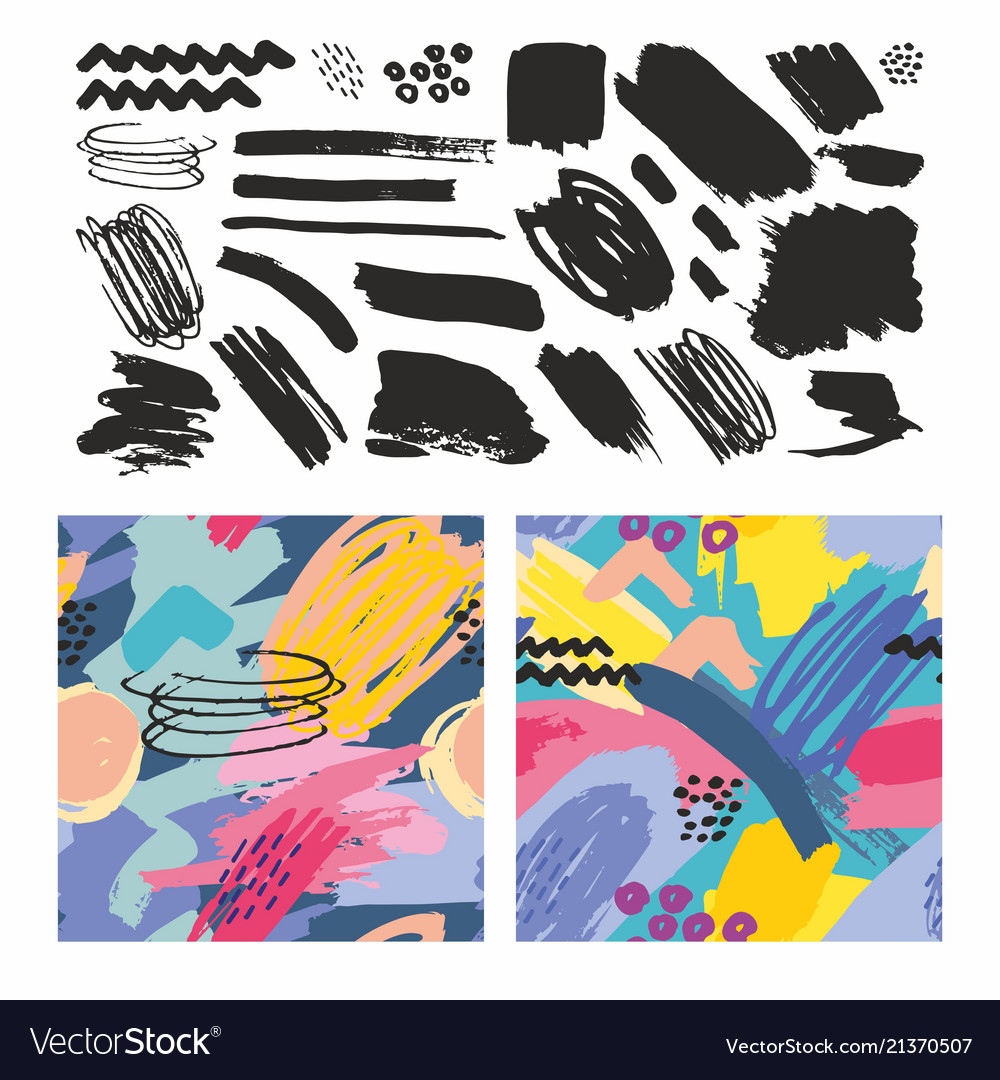 Set of seamless patterns with brush strokes
