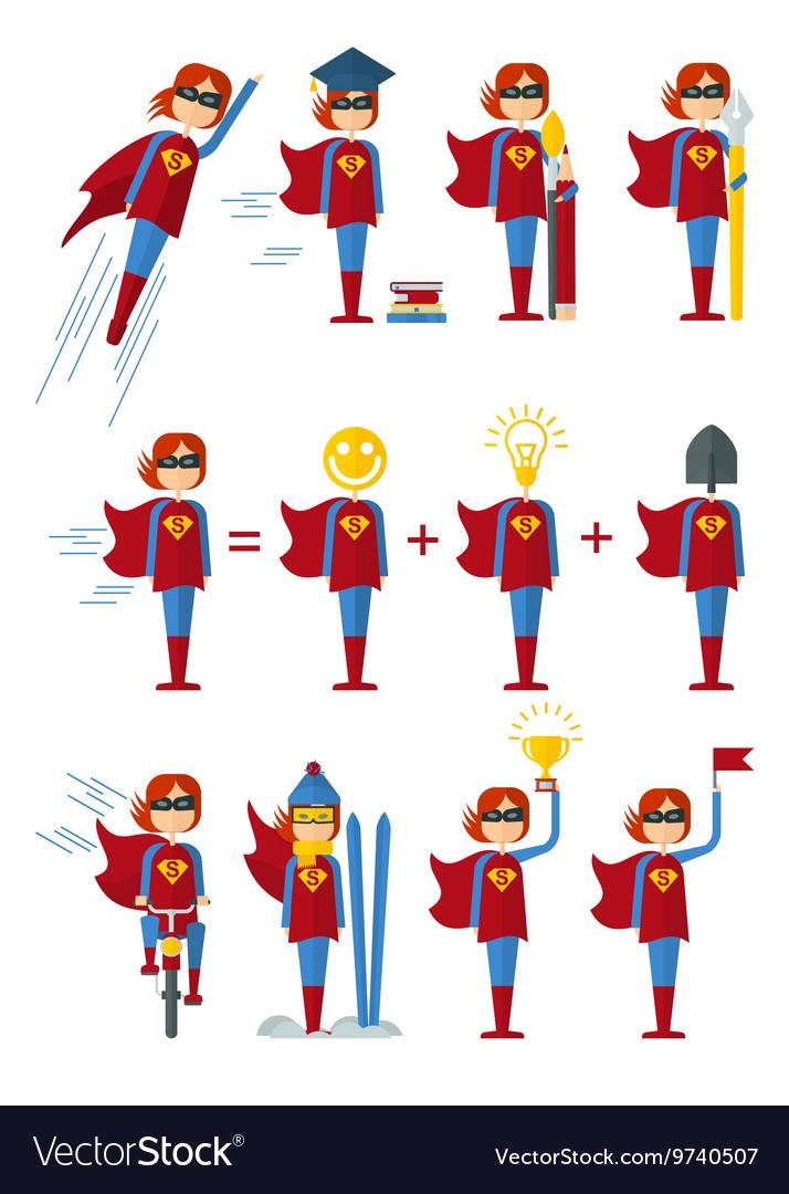Set of superwomen female vector image