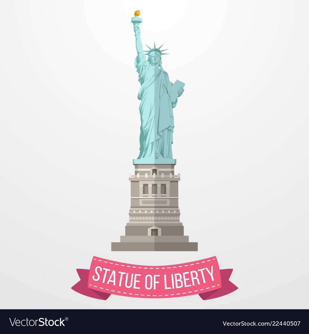 Statue of liberty icon on white background