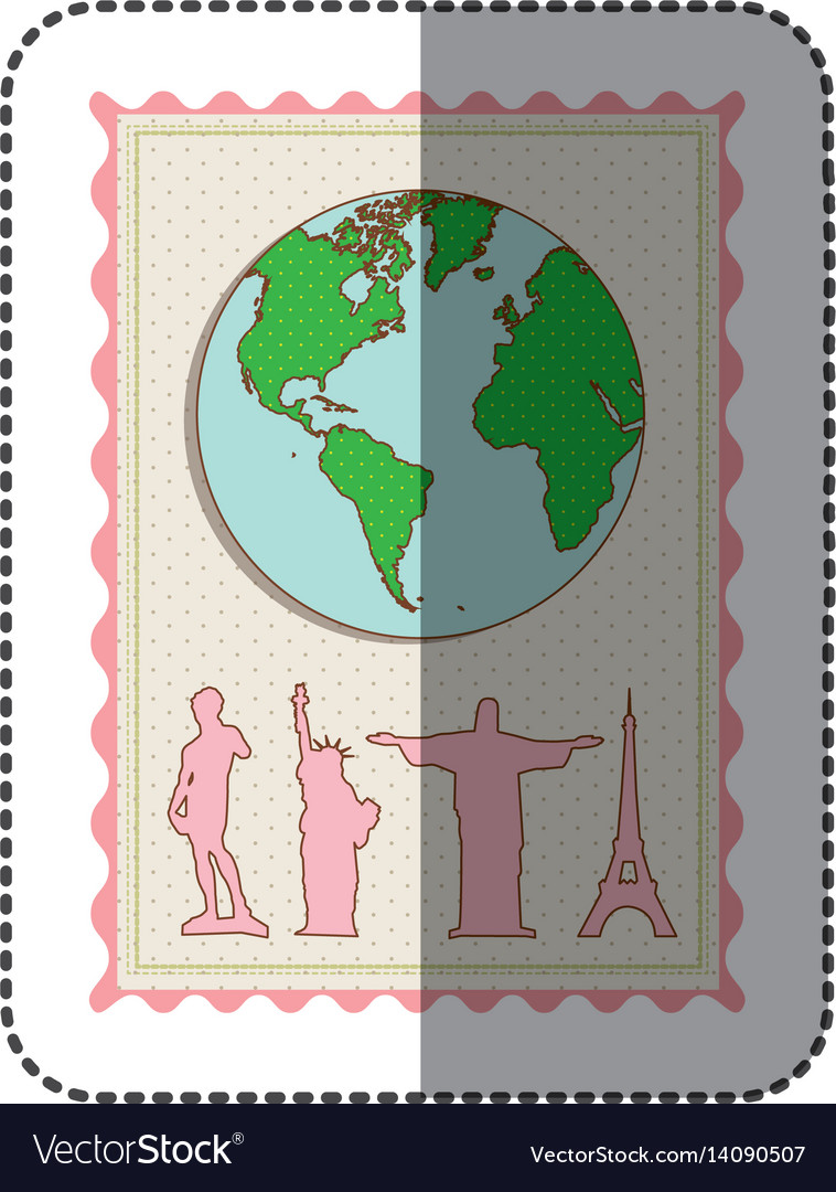Sticker color pastel frame with world map and set vector image