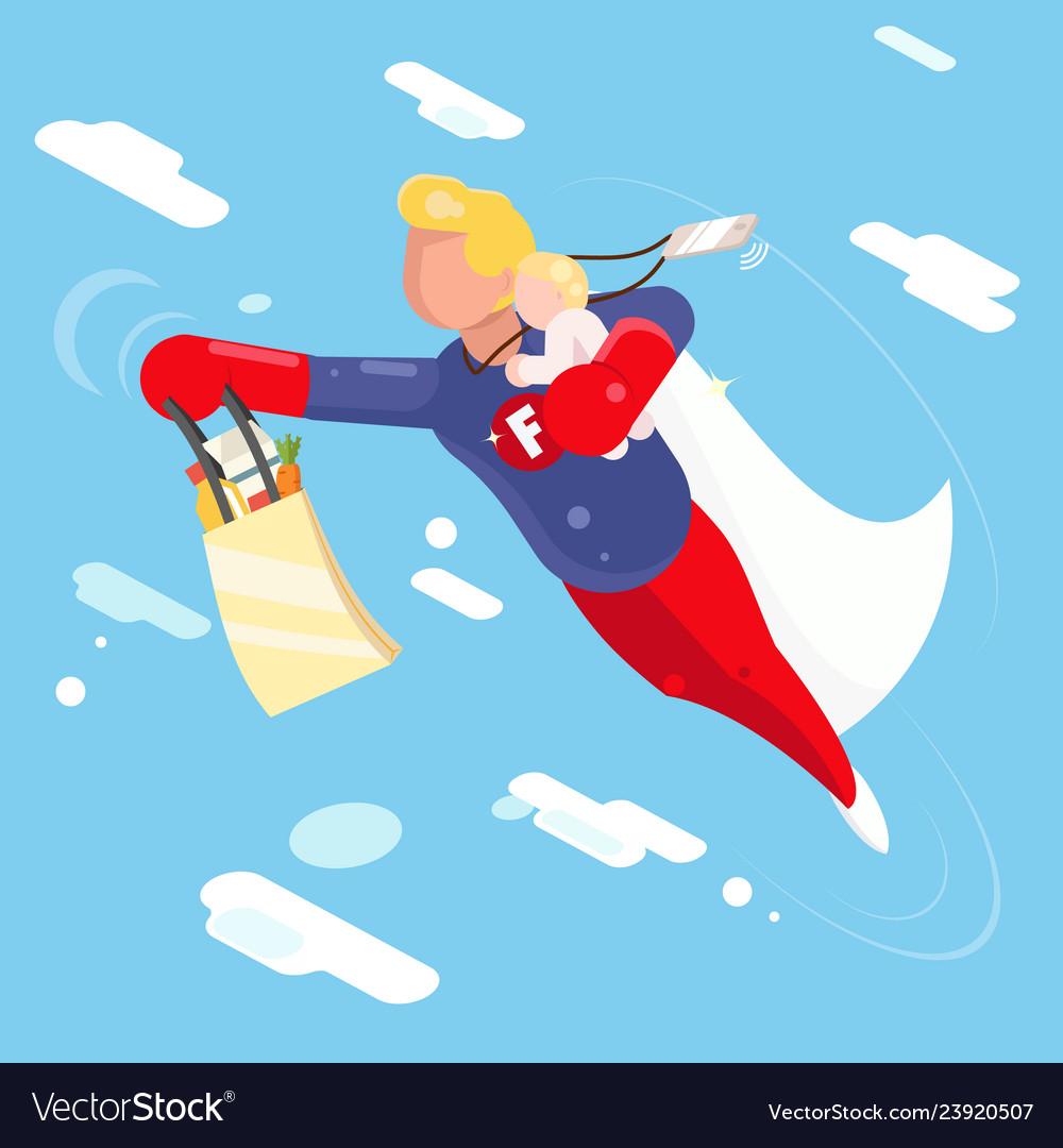 Super hero modern father flying sky clowds child