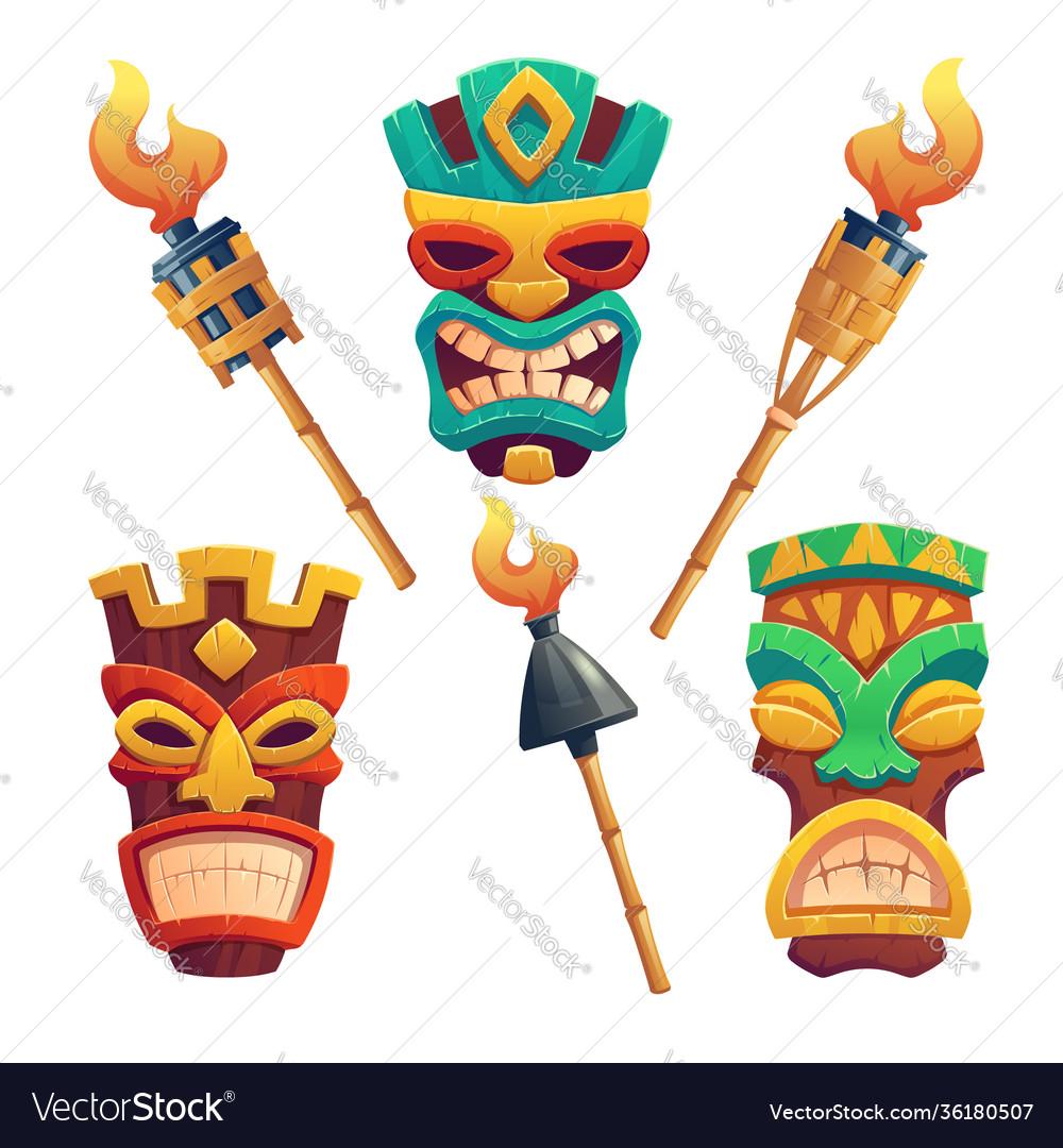 Tiki masks hawaiian tribal totem and torches