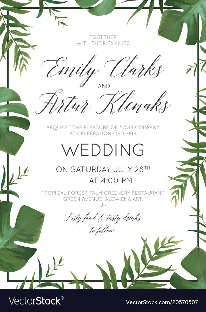 Wedding tropical greenery floralinvite card