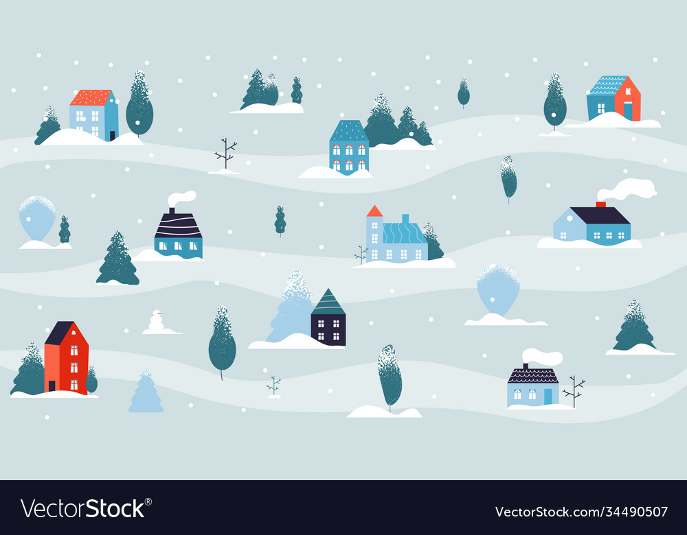 Winter snowy landscape christmas house minimal