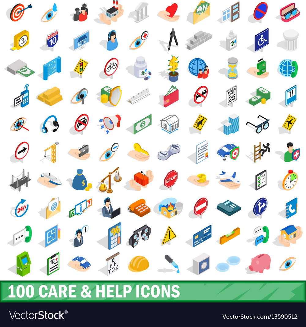 100 care and help icons set isometric 3d style
