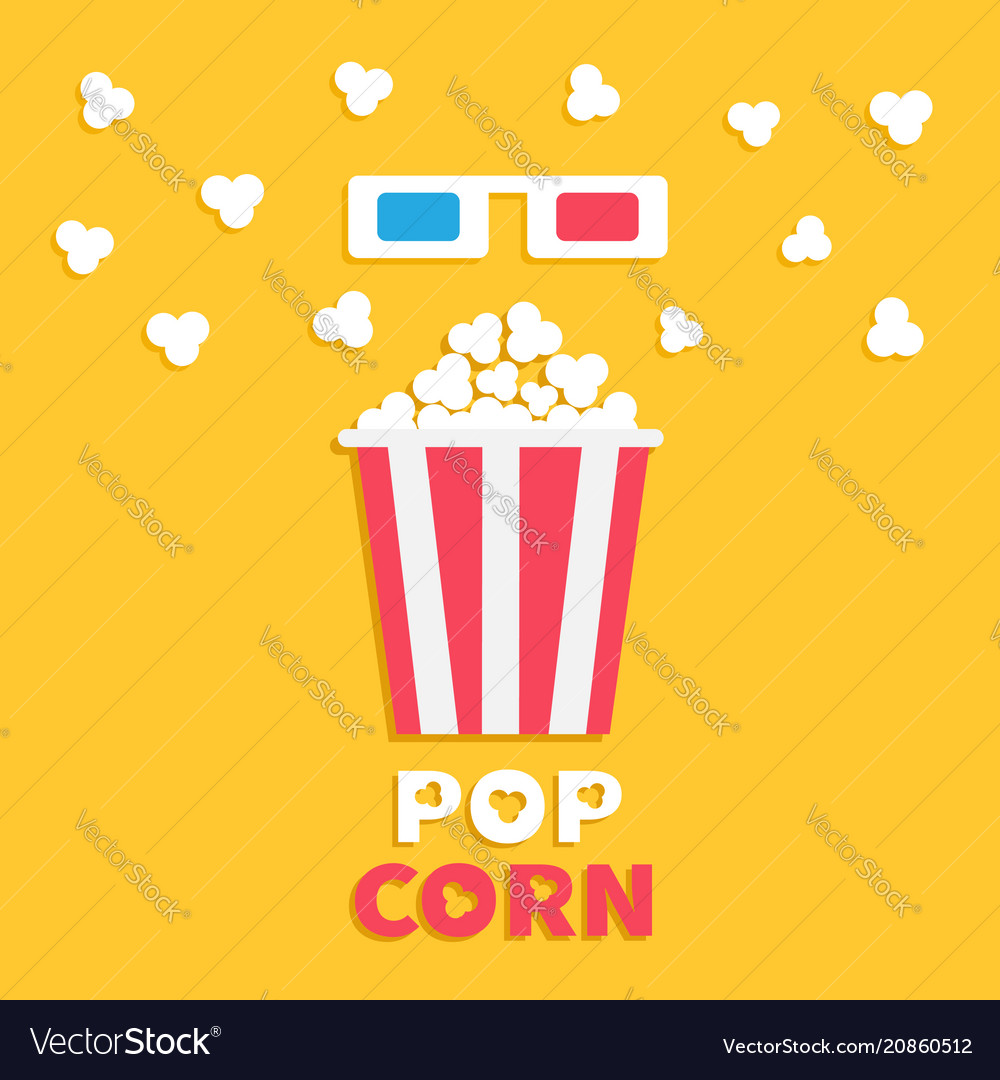 3d paper red blue glasses and big popping popcorn
