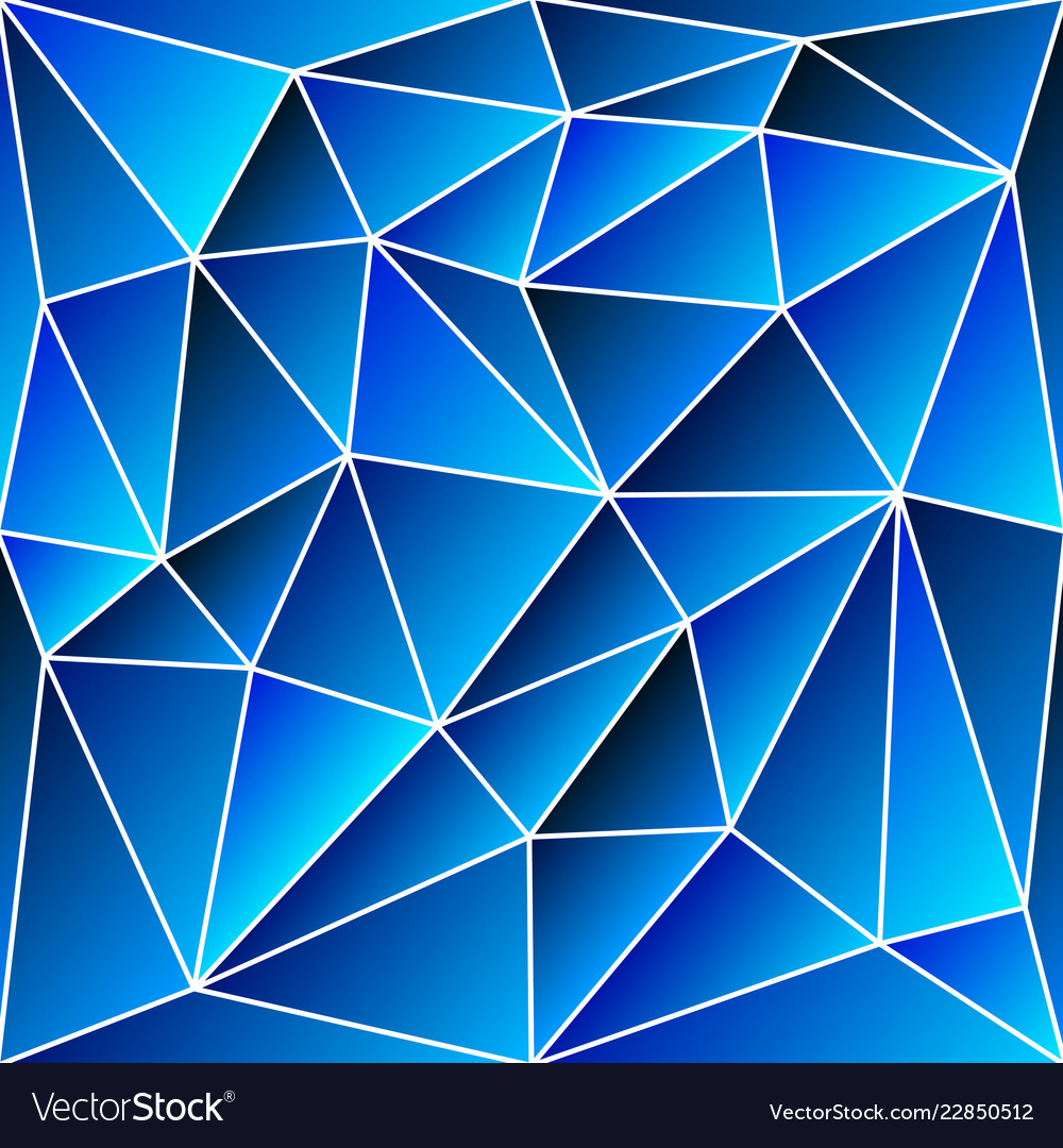 Abstract vitrage - triangular shades of blue grid