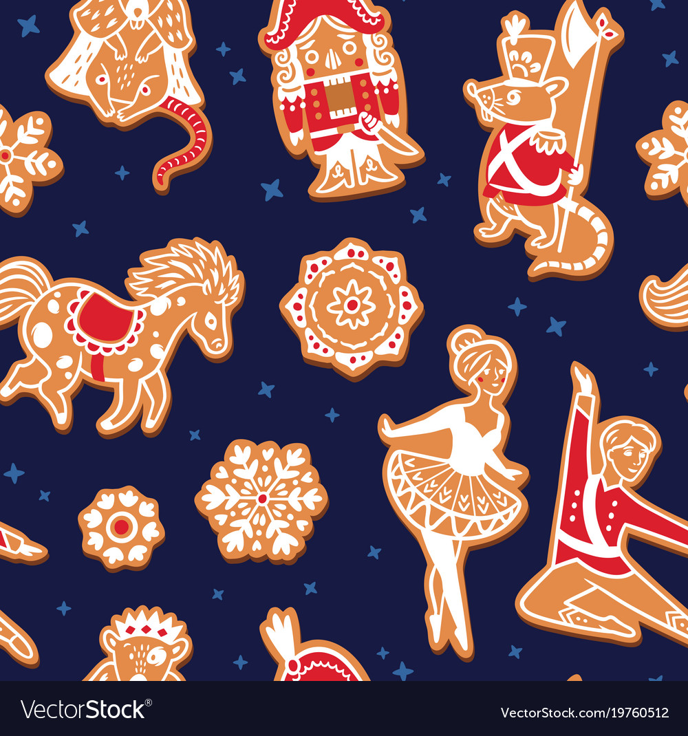 Christmas gingerbread seamless pattern with