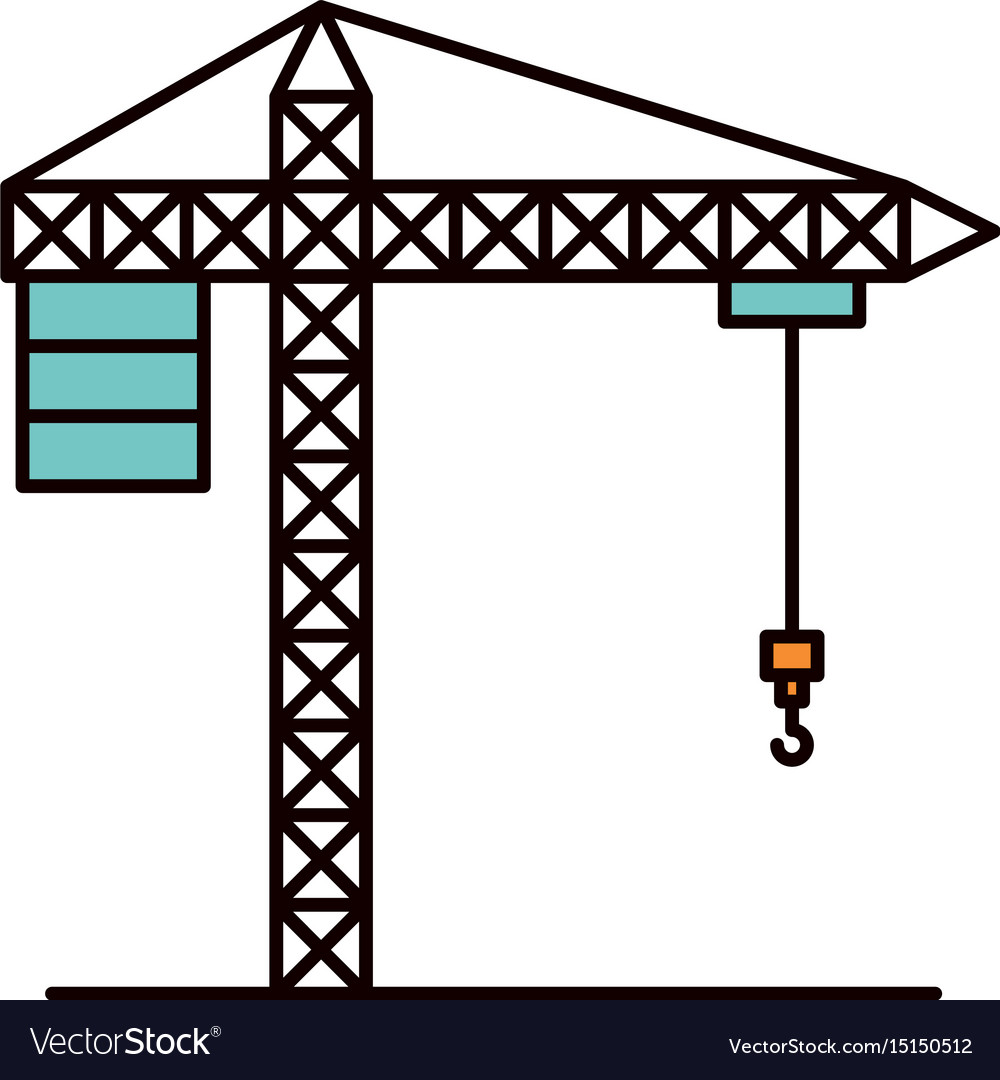Color sketch silhouette crane machinery for