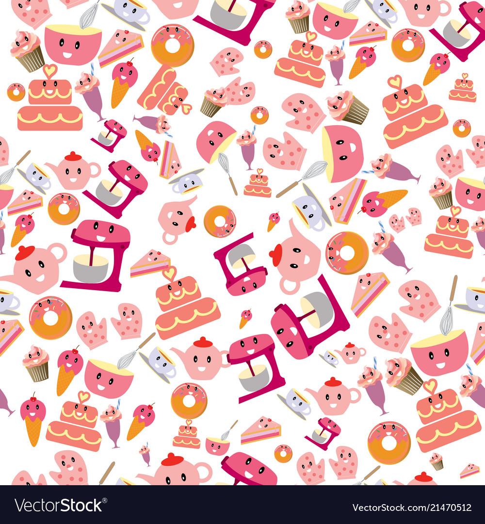 Cute sweet pink bakery items seamless pattern