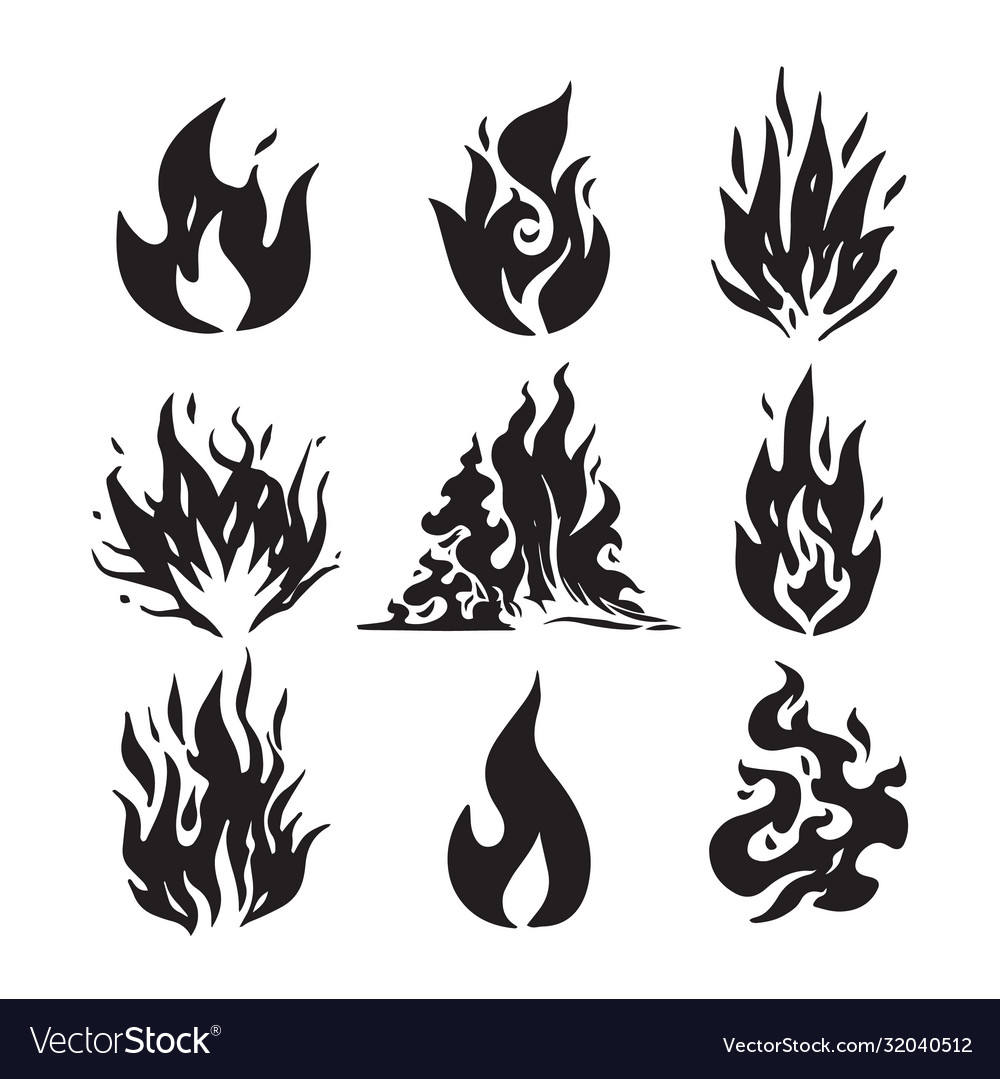 Fire flames set icons hand