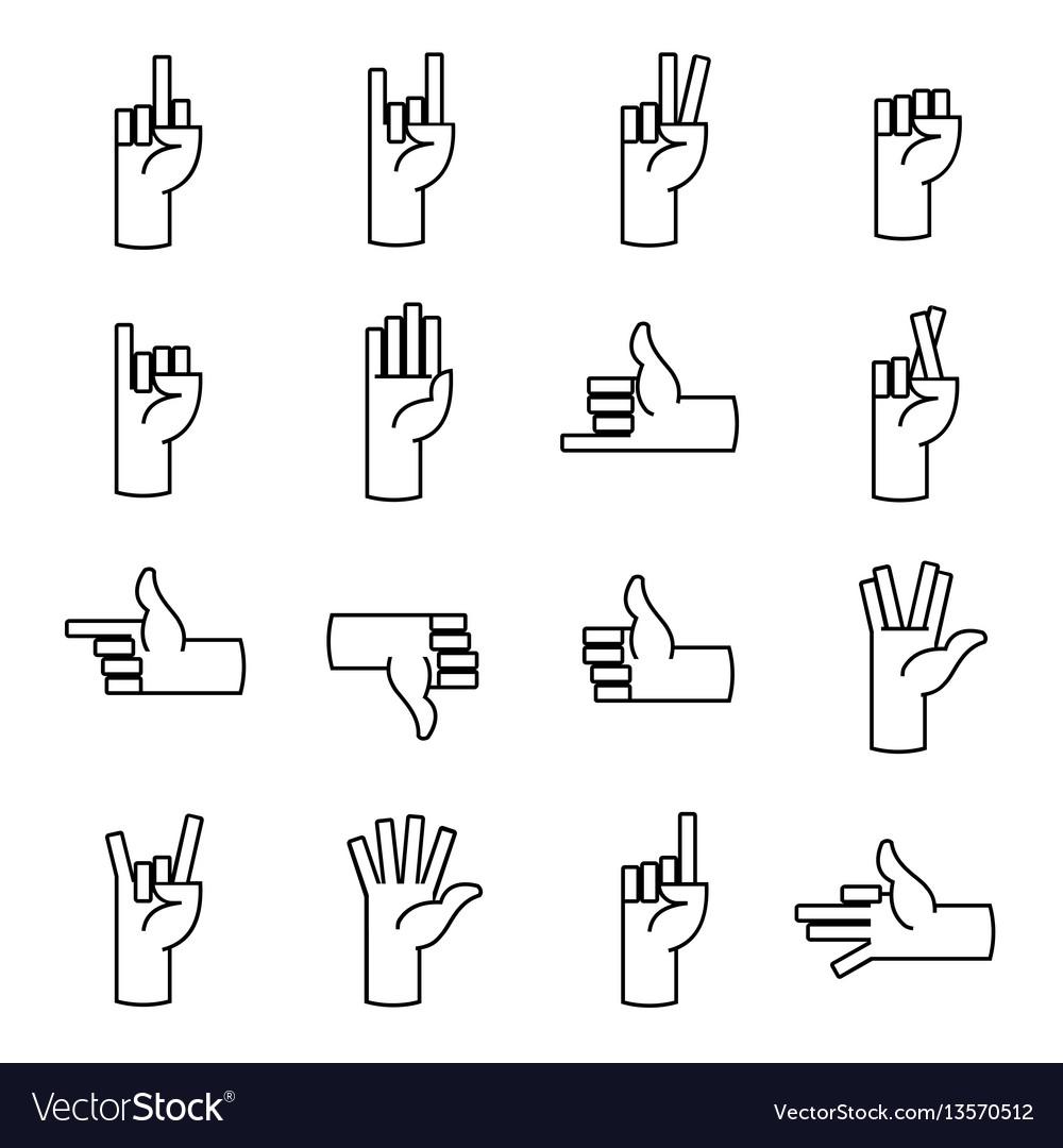 Hands fingers line icons thumb up like dislike