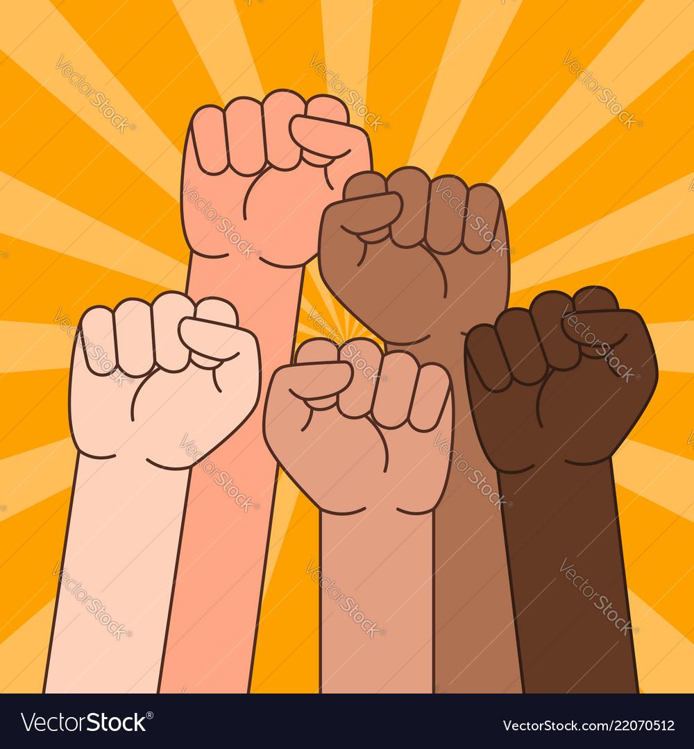 Multi ethnic people with raised fist