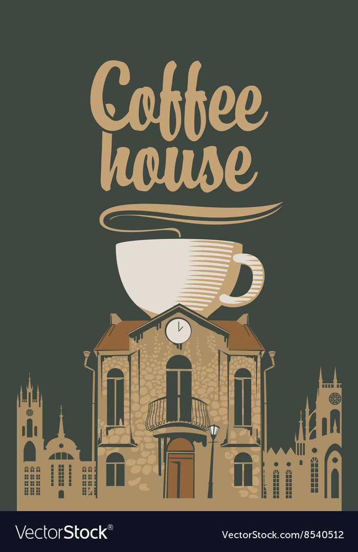 Old house with a cup of coffee