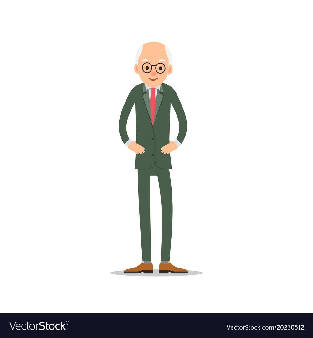 Old man elderly man is stand and holds hands on vector image