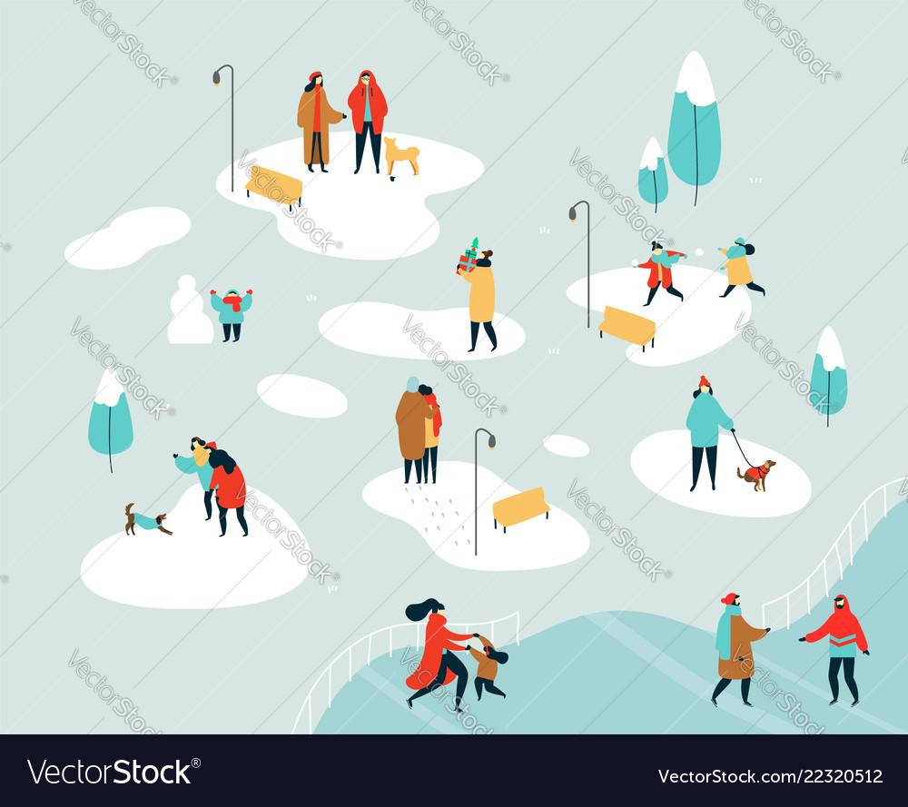 People doing winter acivities on holiday season