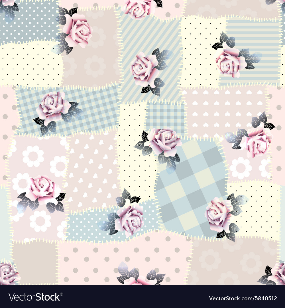 Retro patchwork with roses