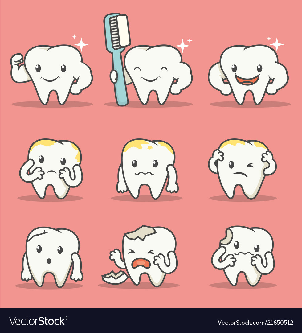 Set of many tooth mascot with expression and pose