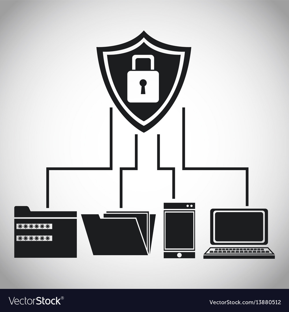 Shield protection data device files vector image